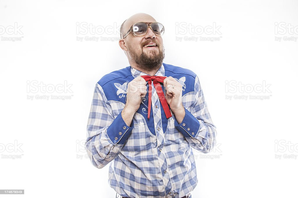 Patriotic Man Tying Red Bow Tie royalty-free stock photo