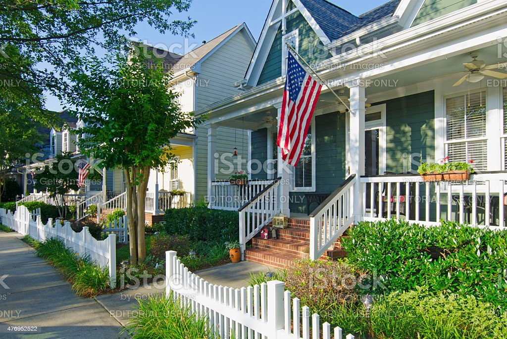 Patriotic Neighborhood with American Flags stock photo
