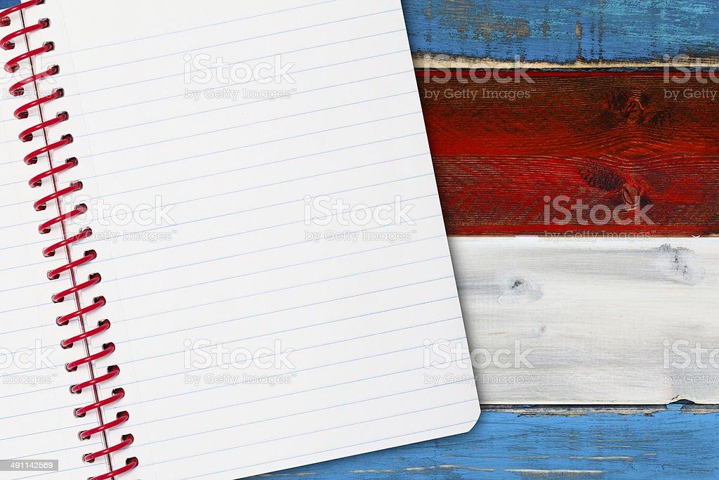 Patriotic Notebook stock photo