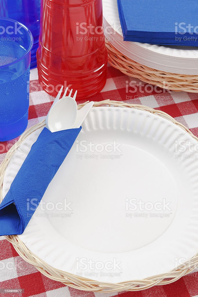 Patriotic Picnic Table Setting royalty-free stock photo