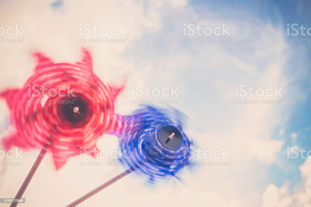 Patriotic pinwheels spinning in the wind. July 4th backgrounds. Summer. stock photo