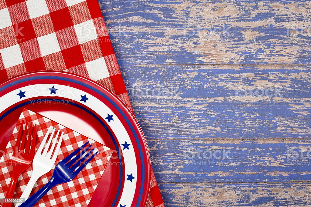 Patriotic Plate and Forks royalty-free stock photo