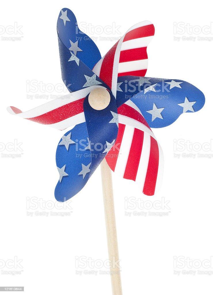 Patriotic Red White and Blie Pinwheel stock photo