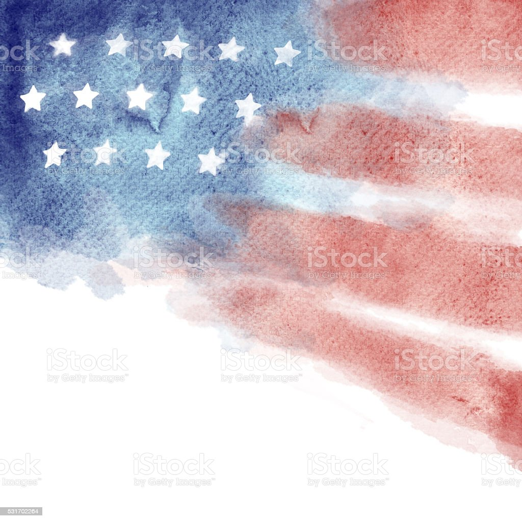 Patriotic Red, White, and Blue Watercolor Painted Background vector art illustration