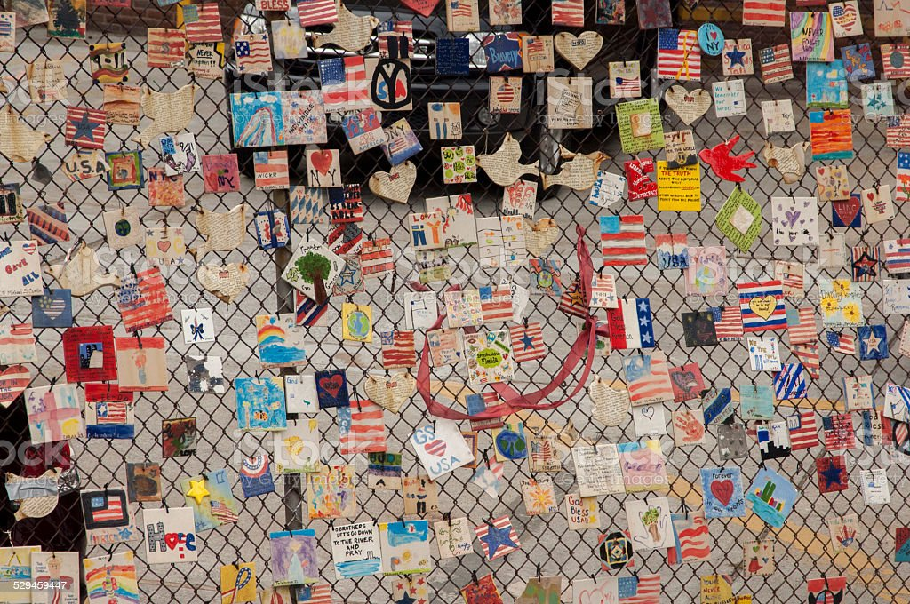 Patriotic remembrance fence in New York stock photo