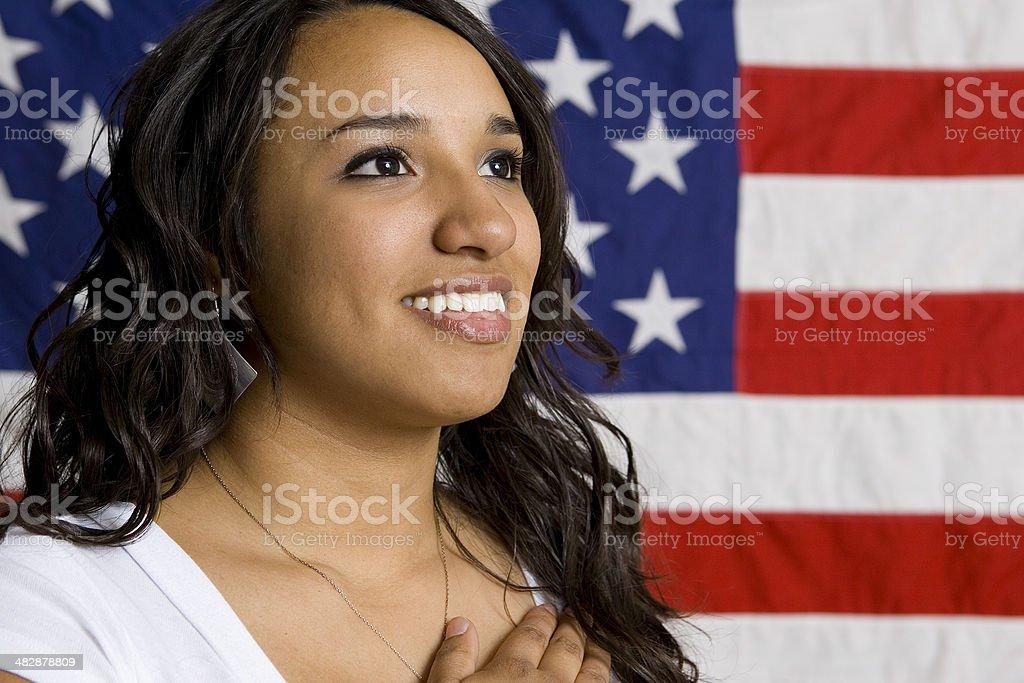Patriotic Series-Hispanic Girl Pledge of Allegiance royalty-free stock photo