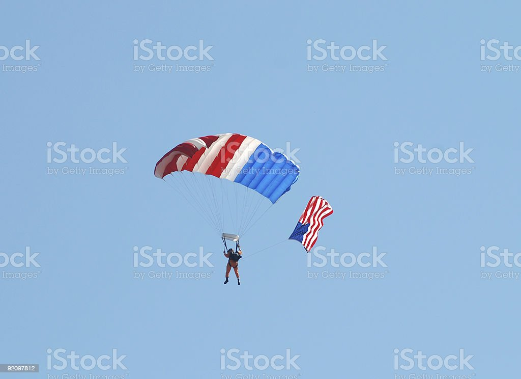 Patriotic skydiver royalty-free stock photo
