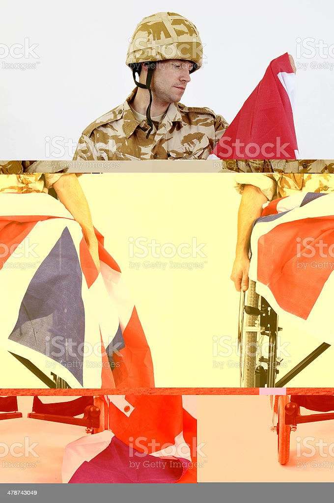 Patriotic Soldier In Wheelchair royalty-free stock photo