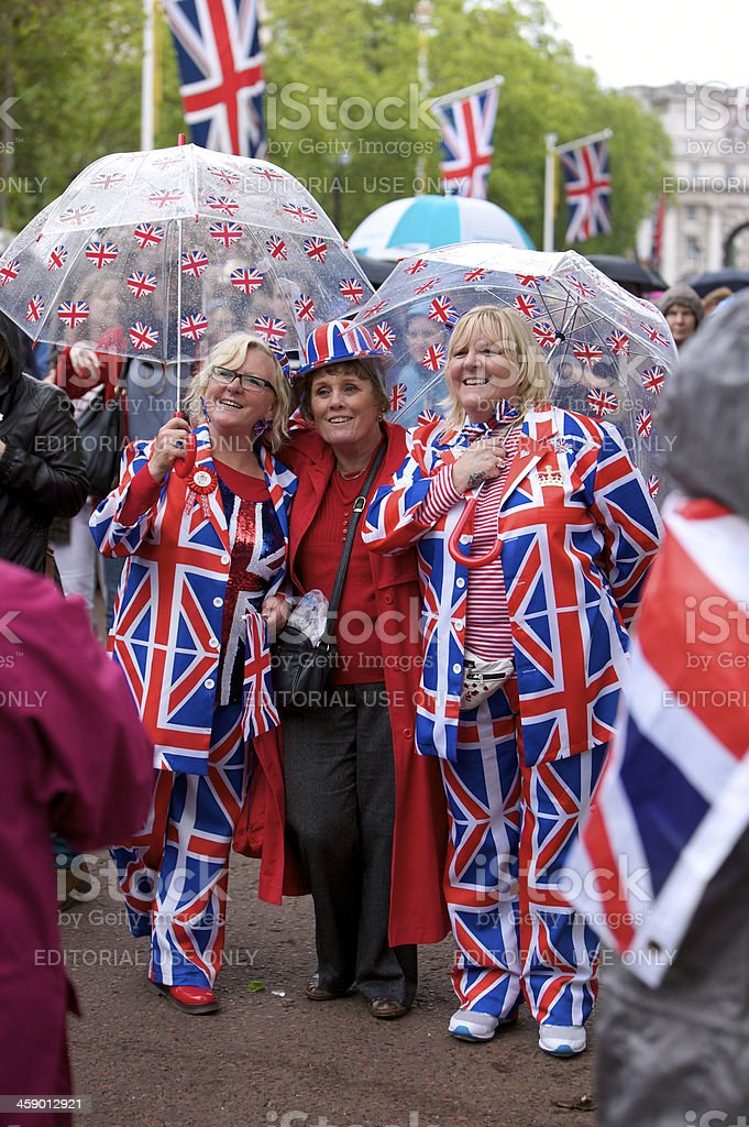 Patriotic spectators on the Mall at Queen's Diamond Jubilee stock photo