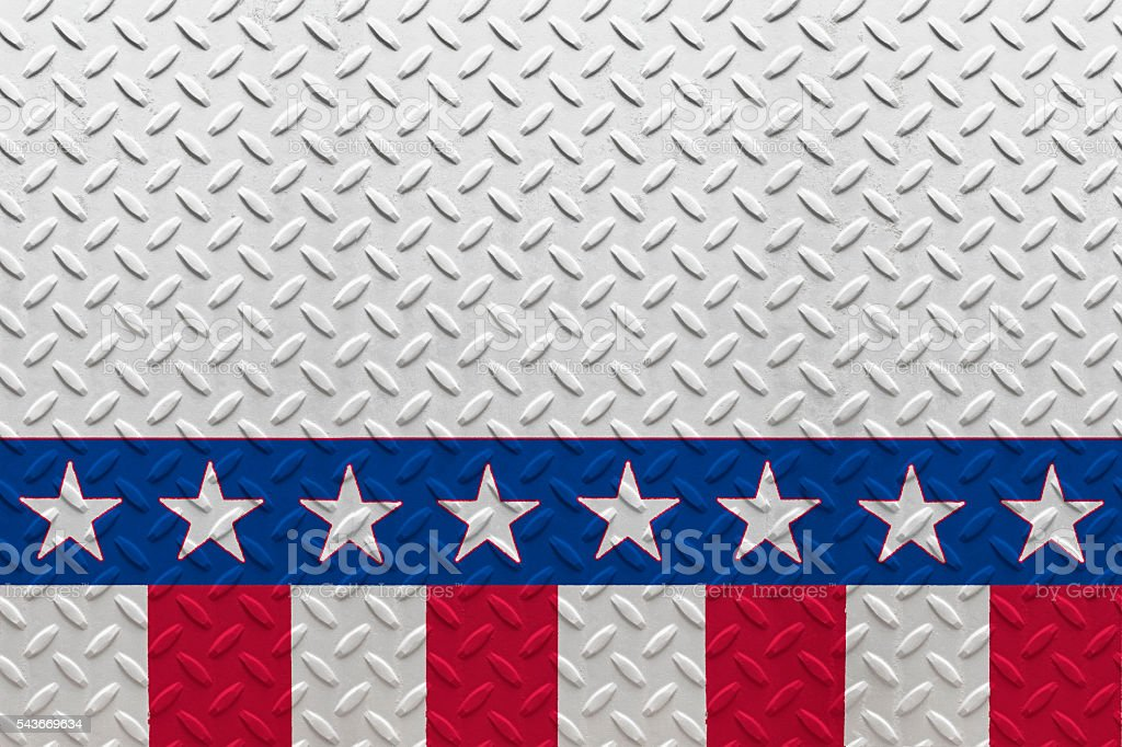 Patriotic Stars and Stripes Diamond Plate Background (SEAMLESS) stock photo