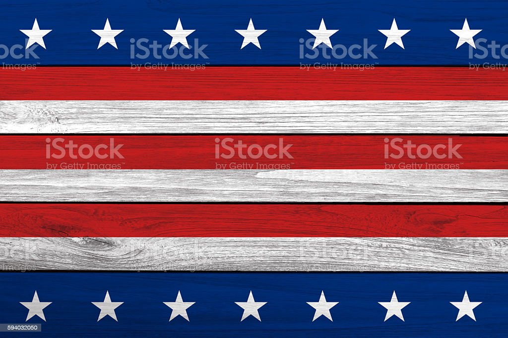 Patriotic Stars and Stripes wooden background stock photo