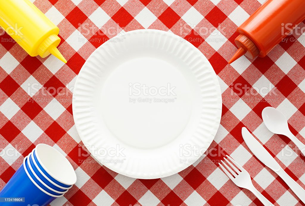 A patriotic table setting for a picnic stock photo