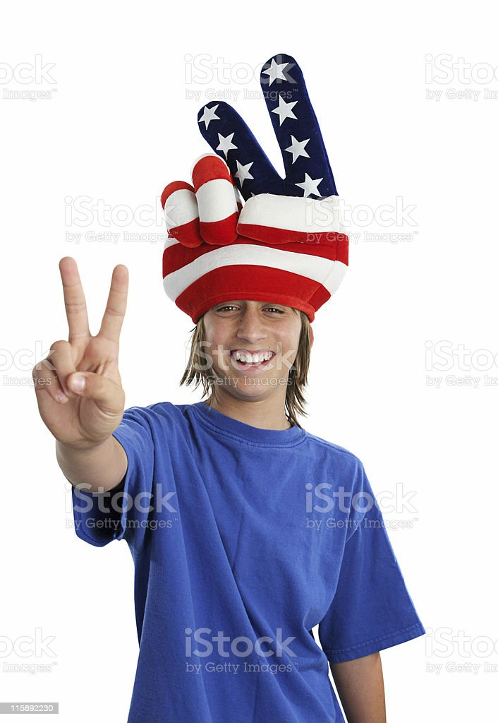 Patriotic Teen - Peace Sign royalty-free stock photo