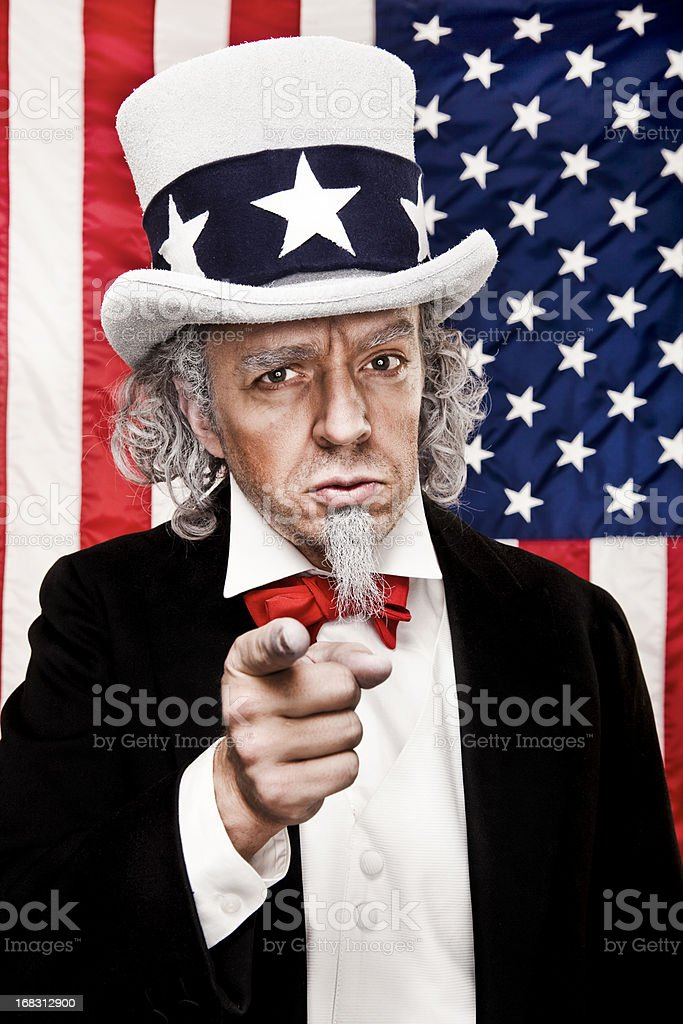 Patriotic Uncle Sam Wants YOU stock photo