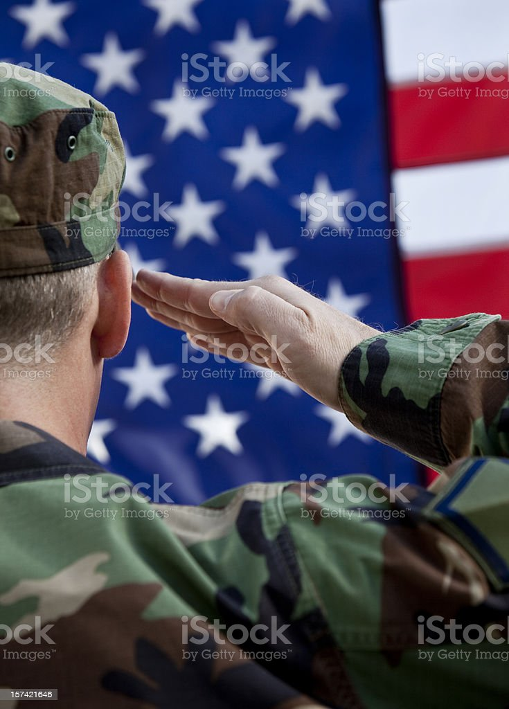 Patriotic US Soldier stock photo