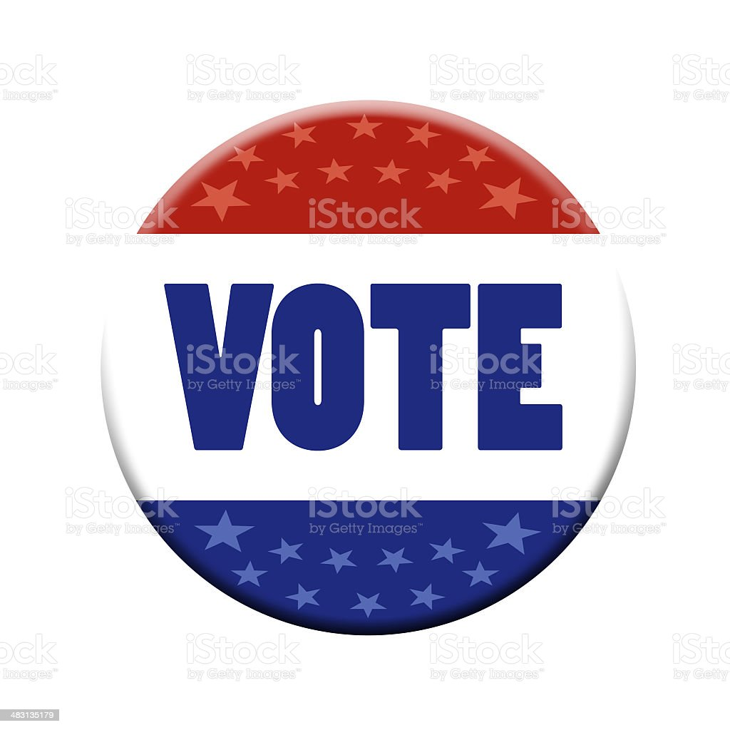 patriotic vote button, clipping path included royalty-free stock photo