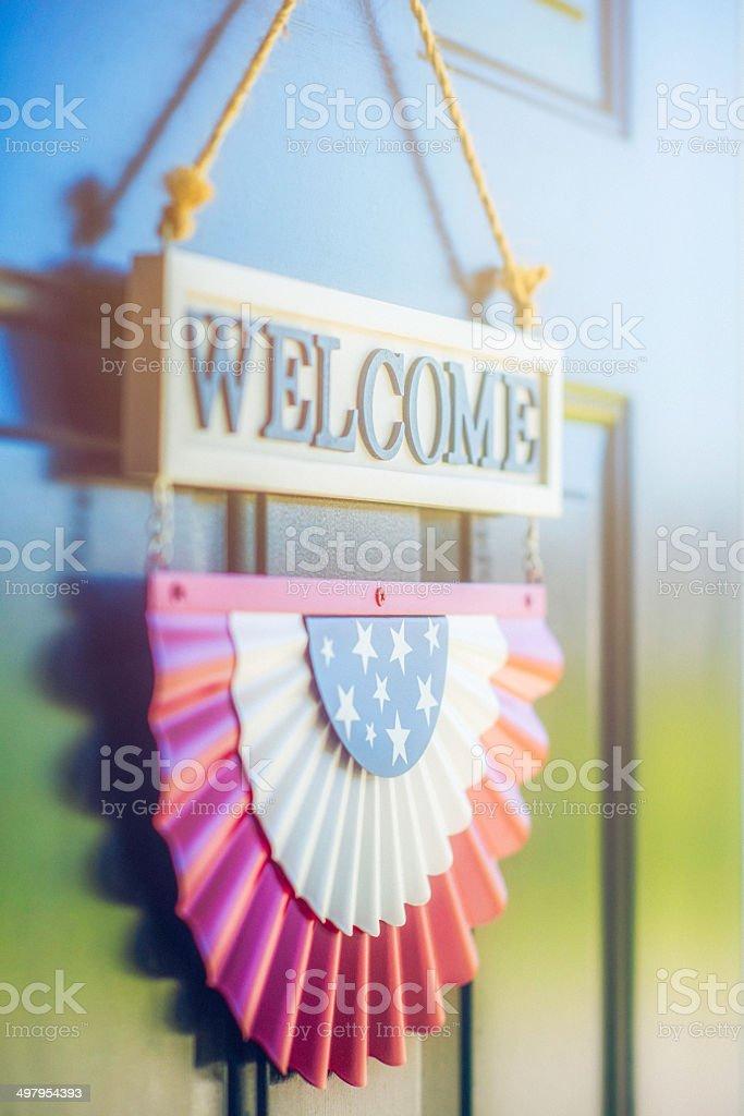 Patriotic Welcome Home stock photo