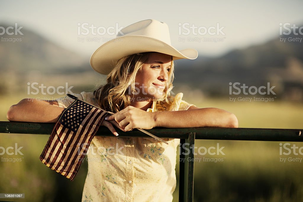 Patriotic Western Girl stock photo