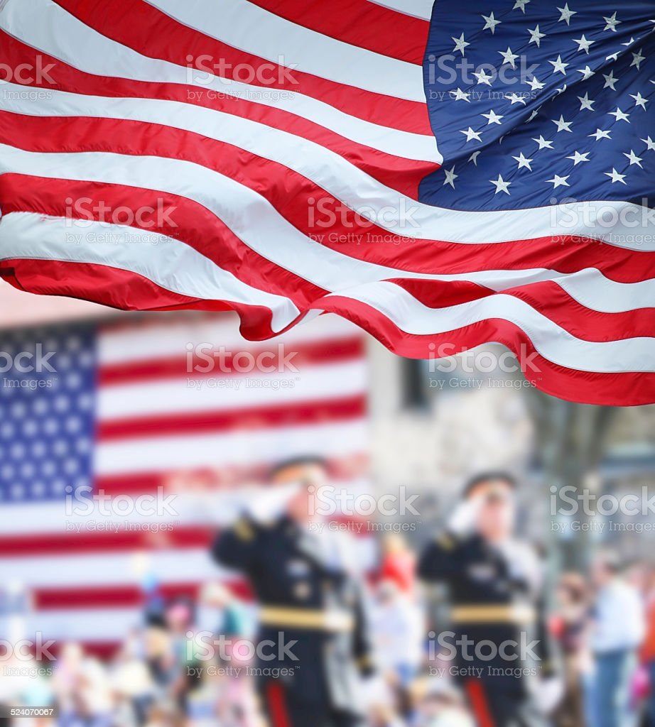Patriots Day Parade stock photo