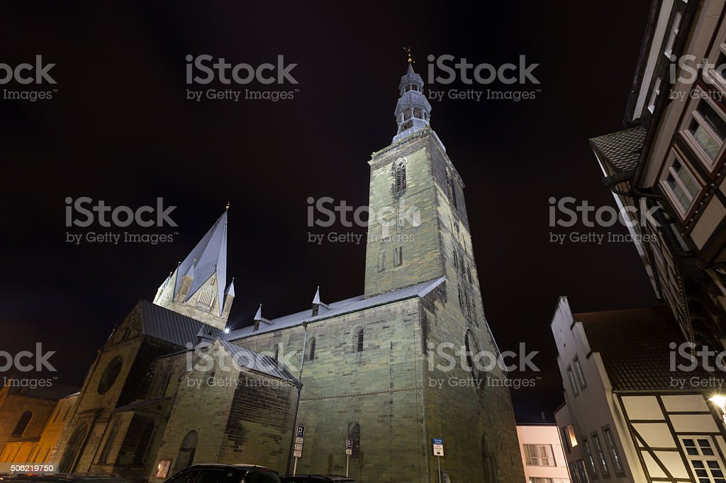 patrokli dom and petri church soest germany in the evening stock photo