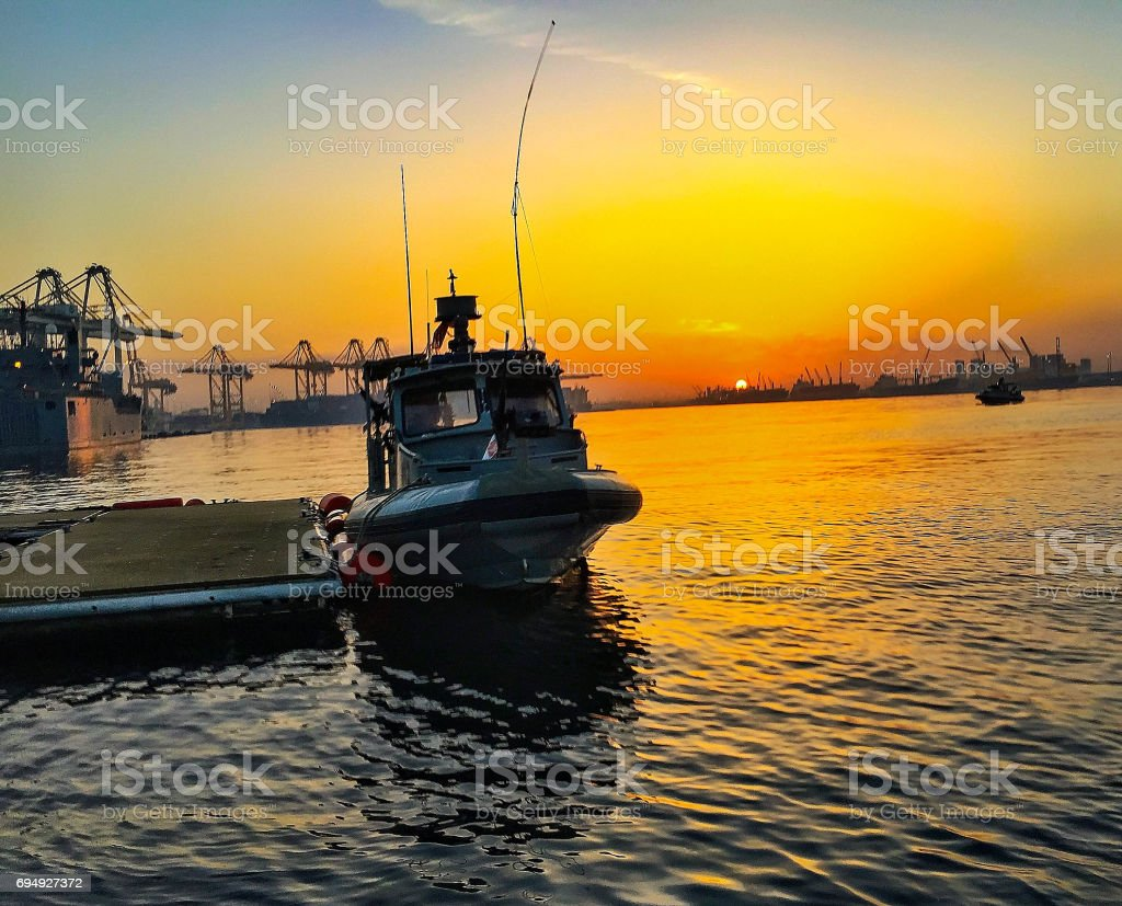Patrol Boat moored stock photo