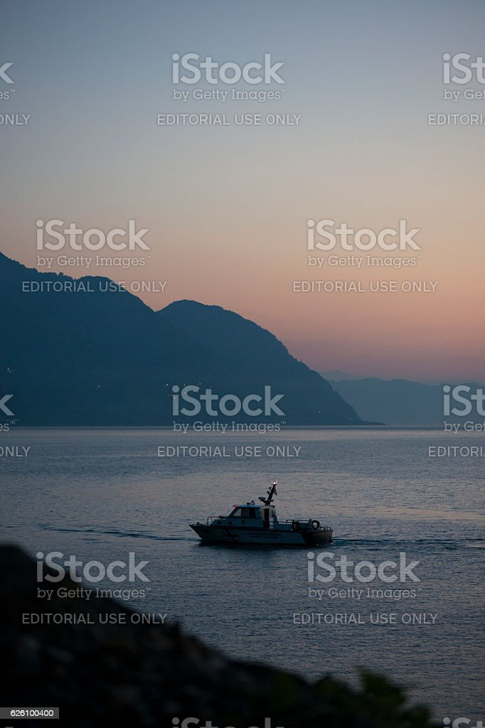 Patrol boat on coast in Sarpi, Georgia stock photo