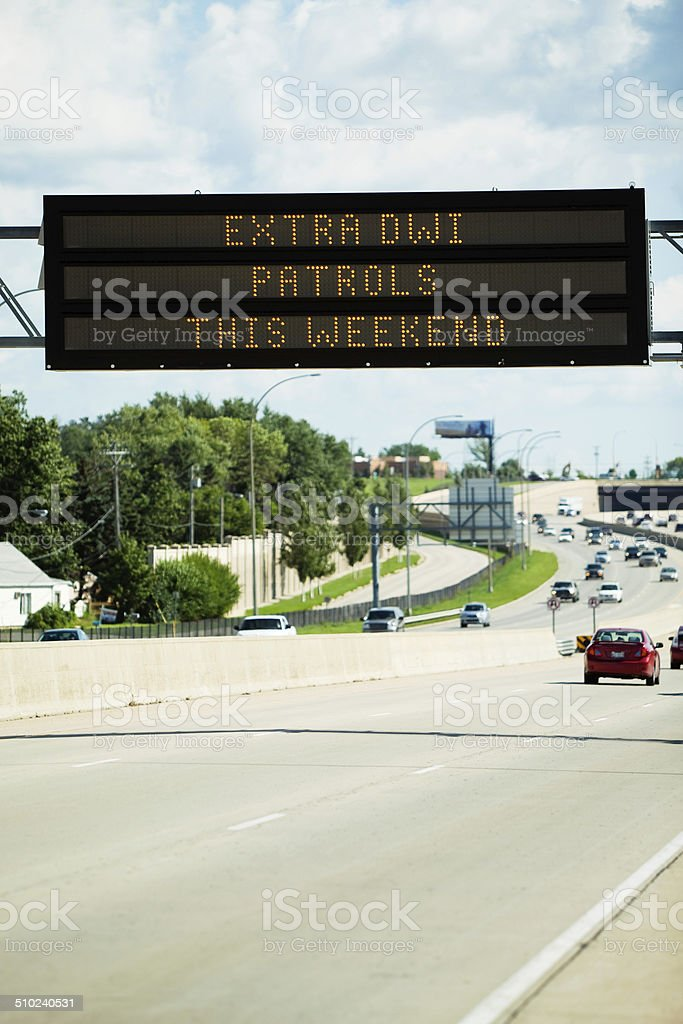 DWI Patrol Notification Sign Above Highway stock photo