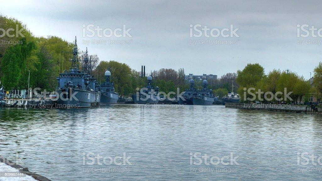 Patrol ships in Baltiysk stock photo