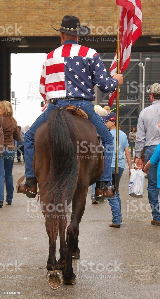 Patroling Patriotic Horseman stock photo