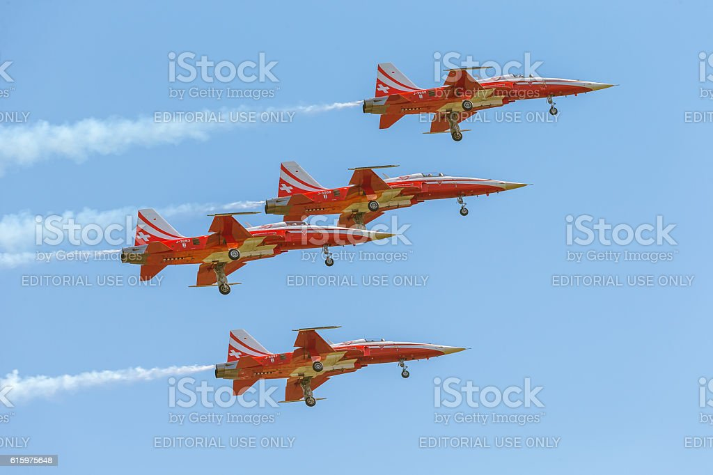 Patrouille Suisse at ILA Berlin Air Show 2014 stock photo