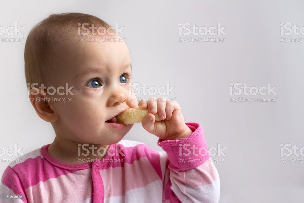 Patrycja with crunchy corn snack stock photo