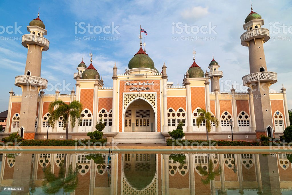 Pattani central mosque with reflection in Thailand. stock photo