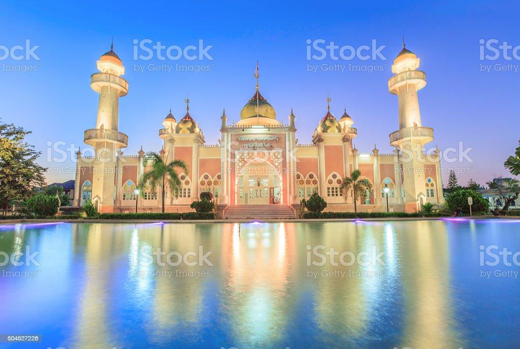 Pattani Public Mosque  in the sunset light. wonderful pray ramad stock photo