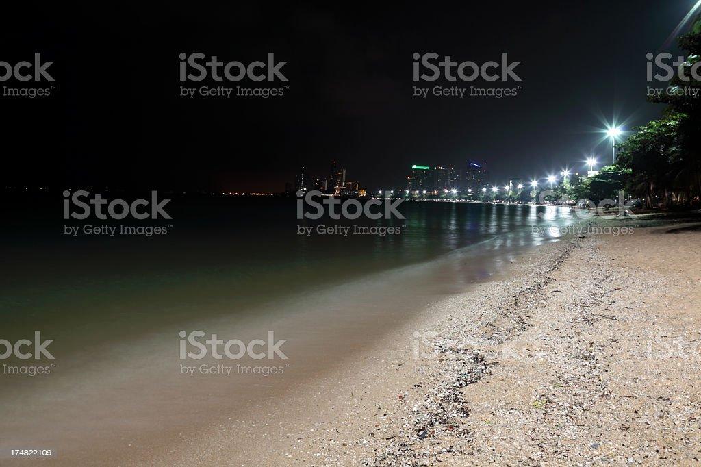 Pattaya beach at night royalty-free stock photo