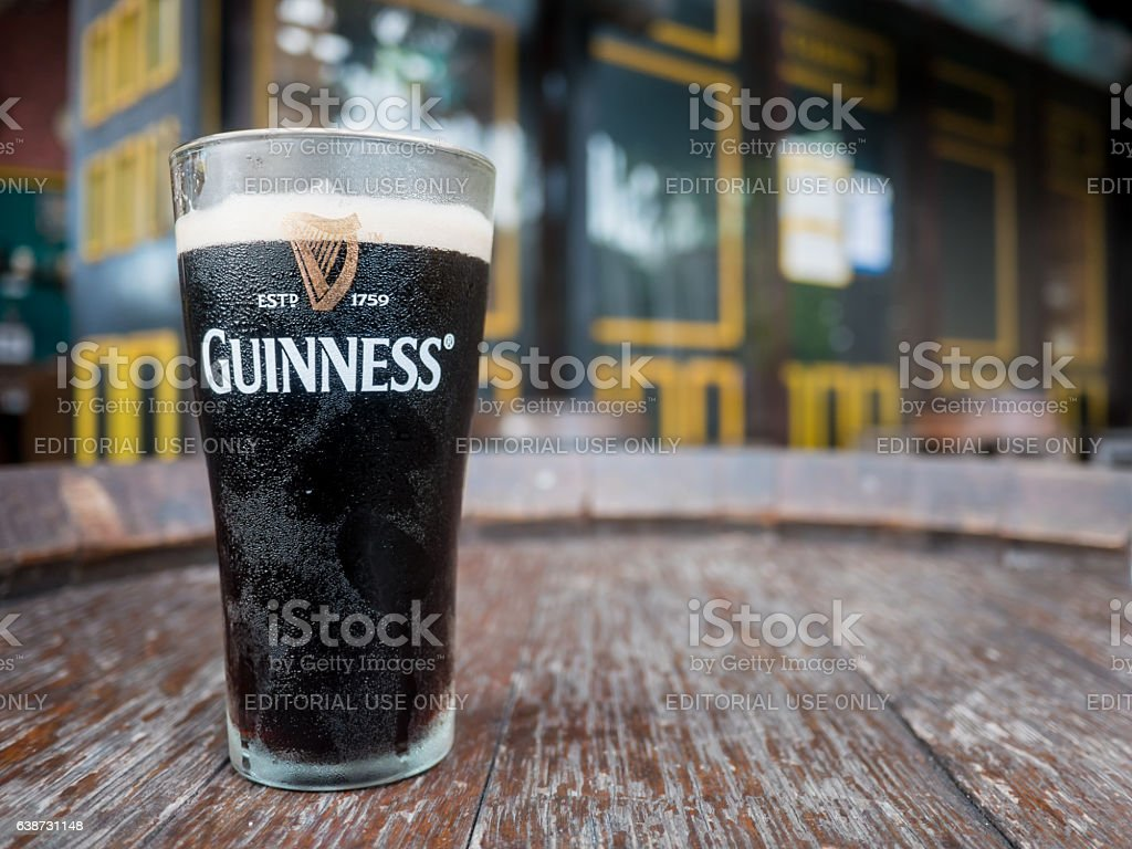 Pattaya , Thailand : Pint of beer served at Guinness Brewery stock photo