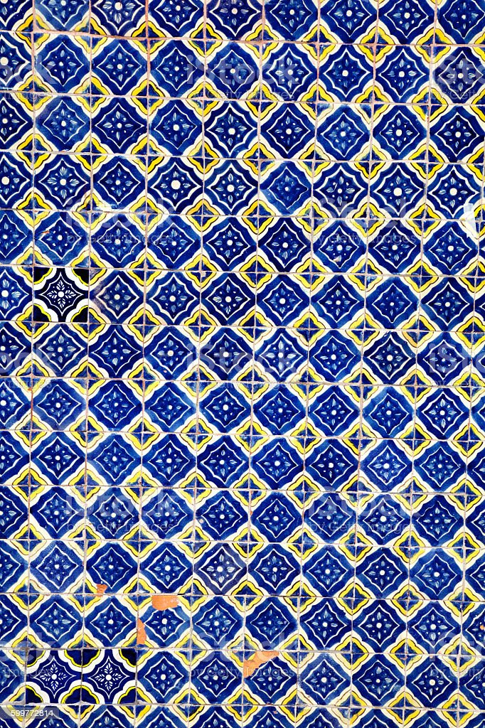pattern from colorful blue tiles, ornaments stock photo