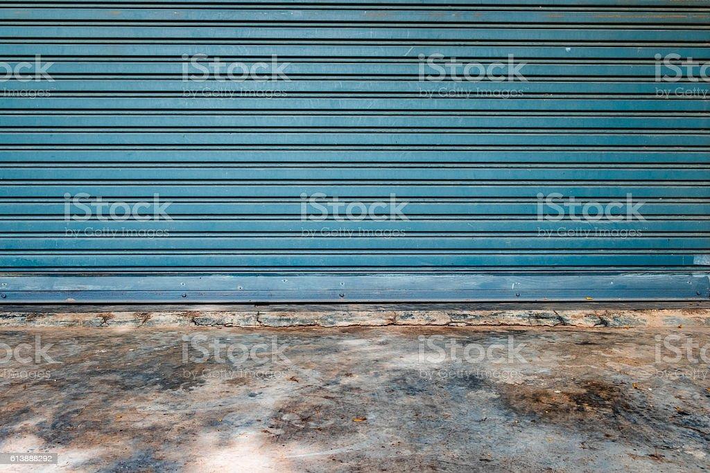 Pattern garage door and floor mortar stock photo