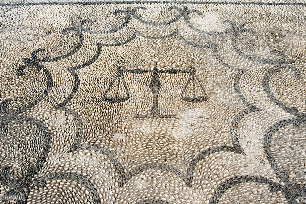 Pattern in black and white stones outside greek courthouse. royalty-free stock photo