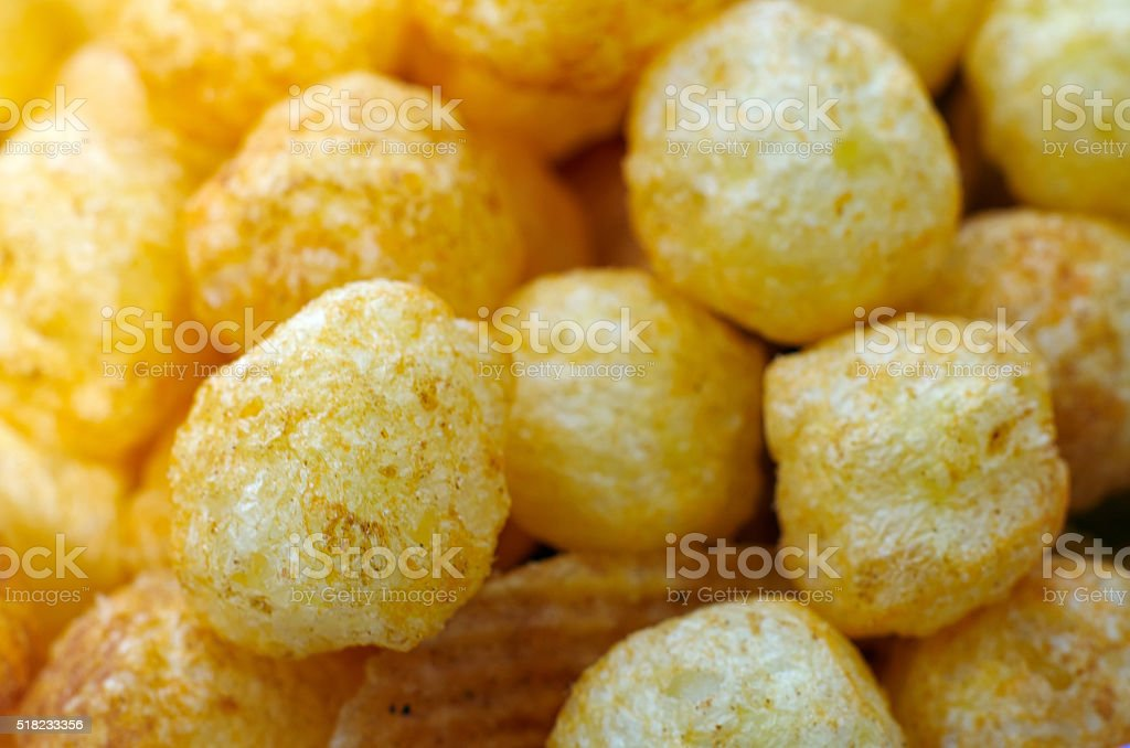 Pattern of Cheese Balls, Texture stock photo