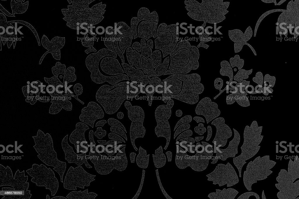 Pattern of gray flowers On a black background texture stock photo