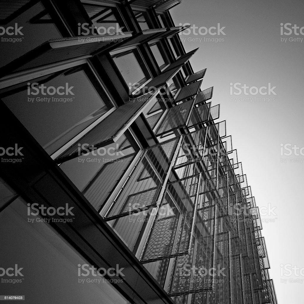 Pattern of industrial windows stock photo