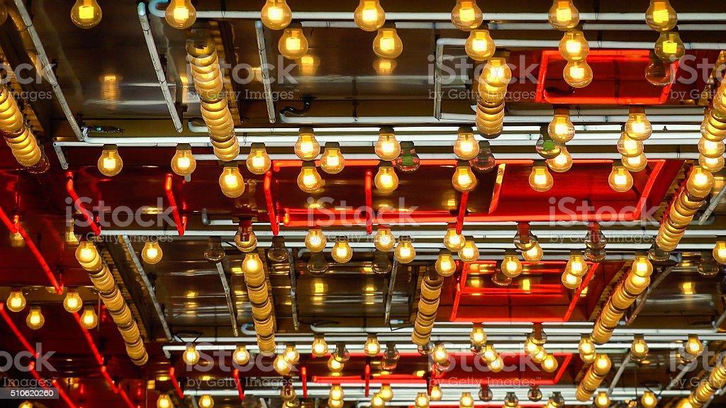 Pattern of Neon Lights Flashing in Las Vegas stock photo