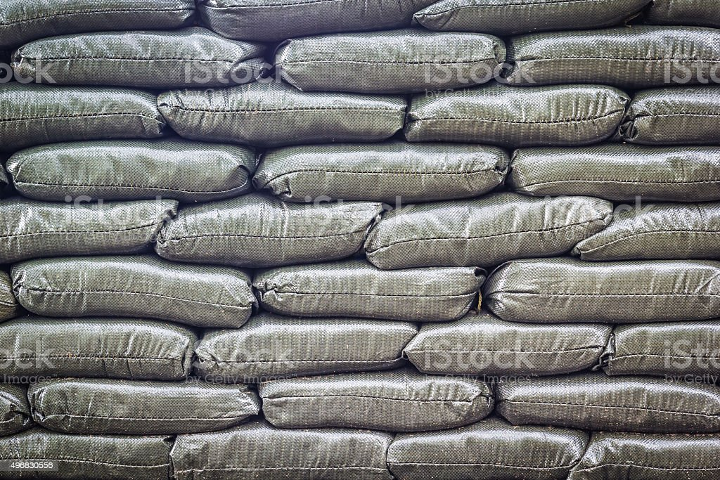 Pattern of sand bags stock photo