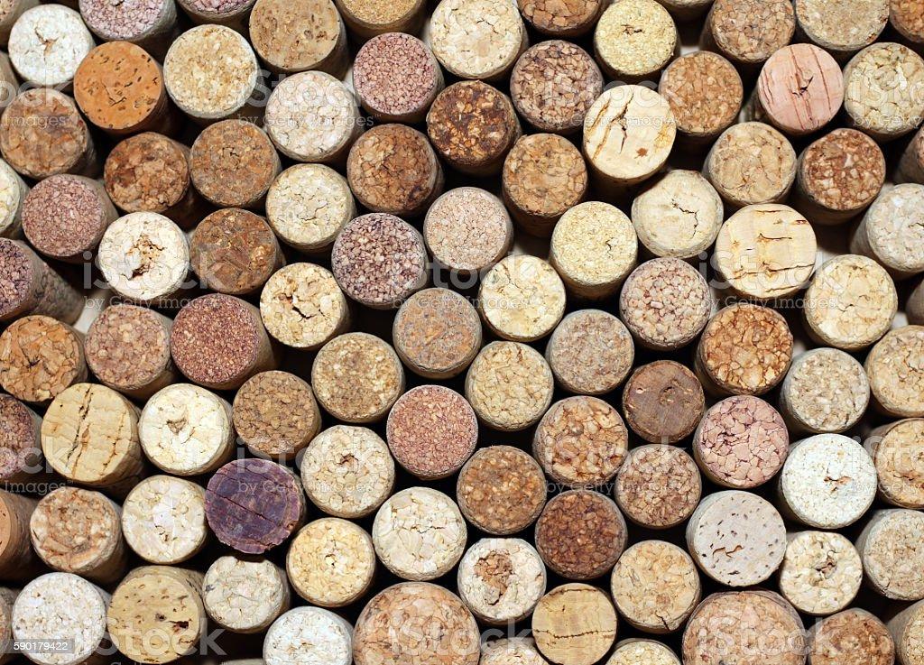 pattern of used wine bottles corks background closeup stock photo