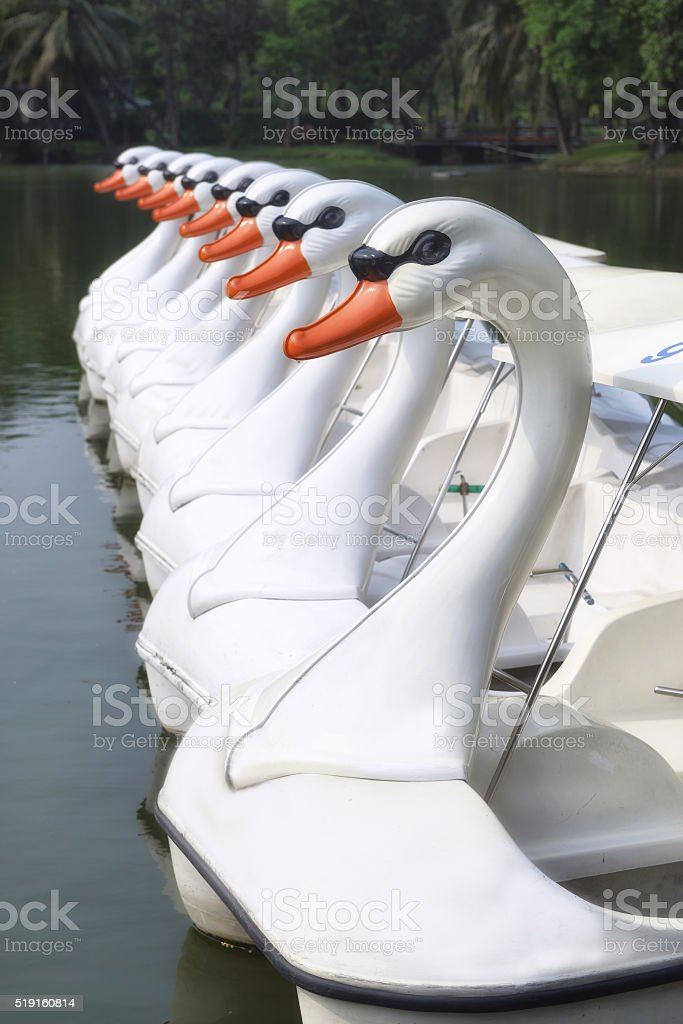 Pattern of white duck boats stock photo