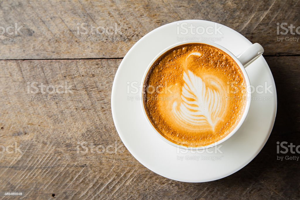 A pattern on a coffee cup and saucer stock photo