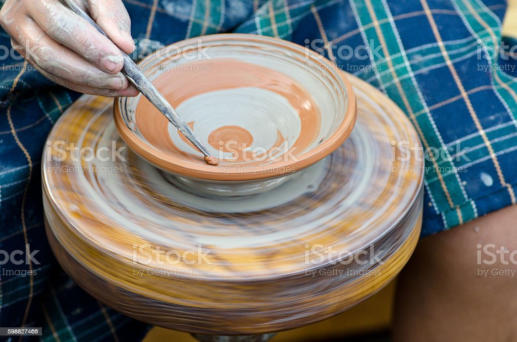 pattern on clay saucer stock photo
