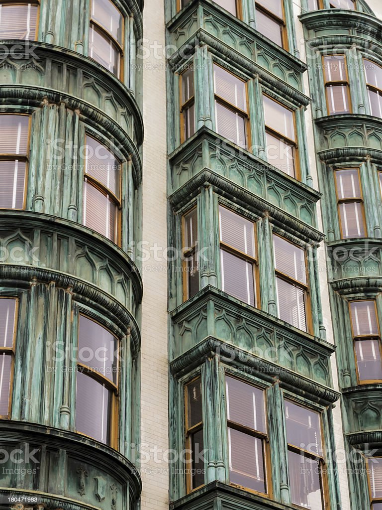 pattern vertical rows of windows in San Francisco apartment houses royalty-free stock photo