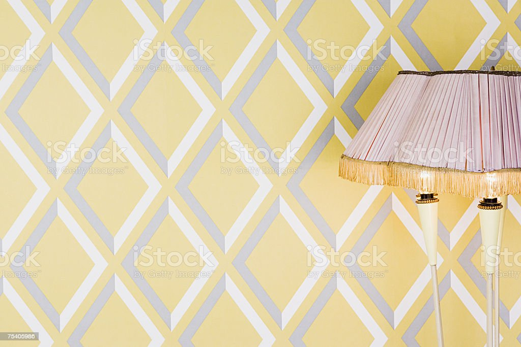 Pattern wallpaper and lampshade royalty-free stock photo