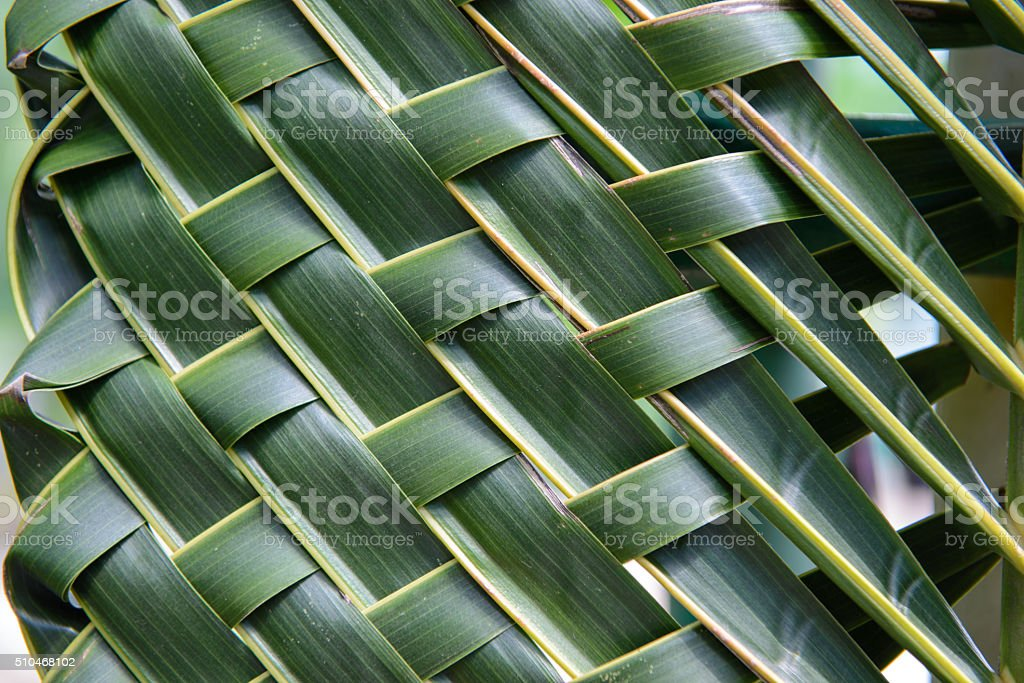 Pattern weave of coconut leaves stock photo
